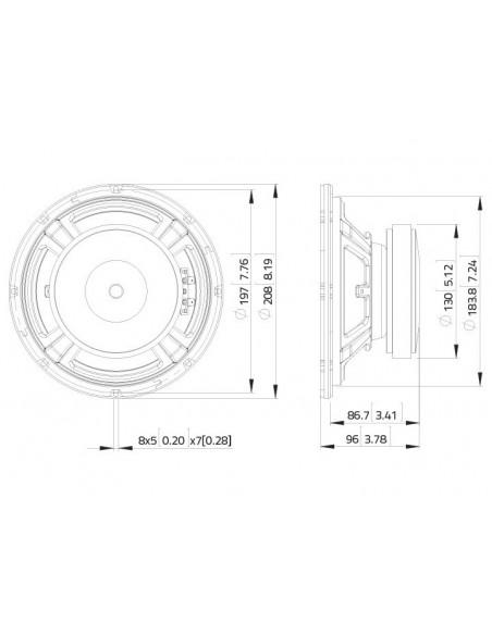 LAVOCE WSF081.82 8″ Woofer Ferrite Magnet Steel Basket Driver
